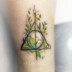 Harry Potter Tattoo  - by Lunakia Instagram: lunakia.tattoo Tattoo Sketches, Deathly Hallows Tattoo, Watercolor Tattoo, Triangle, Harry Potter, Ink, Tattoos, Instagram, Tatuajes