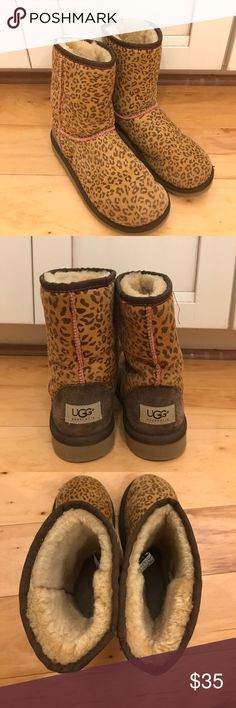 Leopard print Ugg boots Gently used authentic Ugg boots. No stains. Kid's size 4, women's size 6 UGG Shoes Winter & Rain Boots