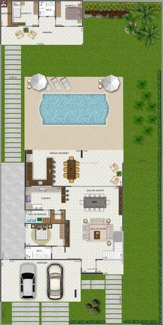 Planta de Sobrado - 4 Quartos - 340.2m² - Monte Sua Casa: