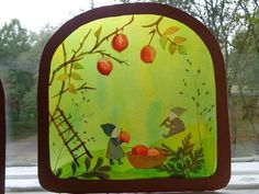autumn paper transparency scene. waldorf education. natural childhood.