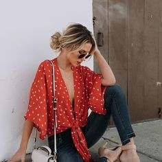 Boho Outfits, Casual Outfits, Cute Outfits, Fashion Outfits, Fashionable Outfits, 4th Of July Outfits, Summer Outfits, Blazer Outfit, Red Top Outfit