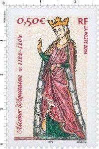 POSTE-2004 Aliénor d'Aquitaine (v. 1122-1204), reine de France. 800e anniversaire de sa mort à Poitiers (détail d'une miniature, Le poète et Aliénor, Reine de France)  www.eleanorofaquitaine.net