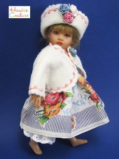 """FOUR piece auction includes:  *OOAK Vintage Handkerchief Doll dress  *White Felt embroidered Jacket  *White Felt Hat  *Matching Bloomers  ~*~*~*~*~*~*  Vintage Hankie Dress features a very unusual design mixing bouquets of flowers  with navy blue stripes as well as """"Sky blue"""" leaves! So pretty!   A joy to create!"""