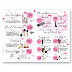 Mary Kay Beauty Menu!! A fun menu to use at your skin care classes to show sets and different party options! Find it on www.thepinkbubble.co!