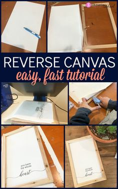 Reverse canvas, reverse canvas ideas, reverse canvas sign, reverse canvas idea, reverse canvas tutorial diy canvas Reverse Canvas Tutorial for Beginners: Absolute Fastest and Easiest Way! Wine Bottle Crafts, Mason Jar Crafts, Mason Jar Diy, Diy Home Decor Projects, Diy Projects To Try, Diy Projects For School, Craft Projects, Do It Yourself Wedding, Canvas Signs