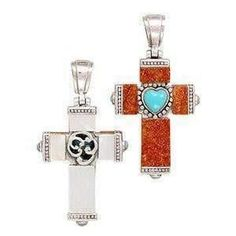 Sterling Silver Cross Turquoise Pendant Reversible