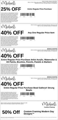 Pinned January 26th: 25% off everything, 40% off a single item & more at Michaels #coupon via The Coupons App