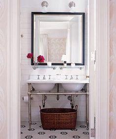 tile pattern. double console sink.