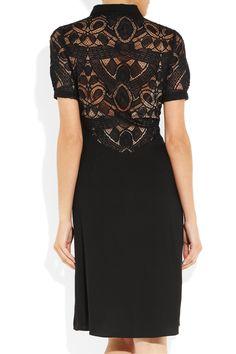 L'Agence|Lace and crepe dress|NET-A-PORTER.COM