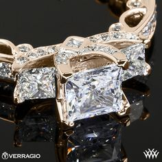 18k Rose Gold Verragio Bead-Set Princess 3 Stone Engagement Ring