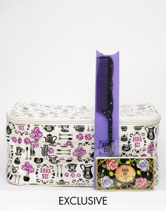 Anna Sui ASOS Exclusive Tea Party Make Up Bag with Hair Comb & Blotting Paper