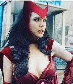 Lizzie with a typical comic scarlet witch costume