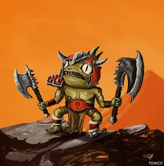 """I painted a Murloc, fighting for the Horde. You can watch the """"process video"""" of this painting he. For The Horde, War Craft, Wacom Intuos, World Of Warcraft, Bowser, Card Games, Concept Art, Digital Art, Batman"""