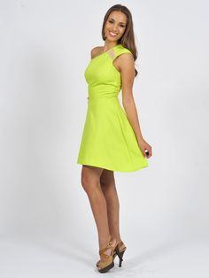 Diligo lime skater dress with cutout detail | www.diligo.co.za Skater Dress, Lime, Spring Summer, Detail, Fashion Design, Shopping, Collection, Dresses, Style