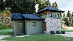 Craftsman Style Cabin Plan | Cotton Creek  #houseplan #floorplan #homeplan #cabinplan #cabinsweetcabin #weekendgetaway #cabininthewoods #cabinideas #exteriordesign #homesweethome #smallhomedesign #smallhomeplan #tinyhomeplan #tinyhomes #architecturaldesigner #rusticcabin Best Tiny House, Tiny House Plans, Tiny House Exterior, Compact House, Cabin In The Woods, Open Layout, Small House Design, Cabin Plans, Craftsman Style