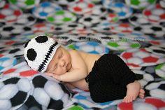 @ Tiffany Mitchell   Newborn Or 03M Soccer Beanie Photo Prop by BriarRoseCraftyThing, $25.00