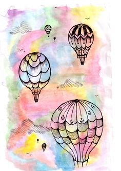 hot air balloons drawing - Google Search