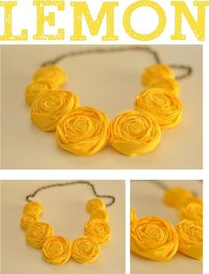 Yellow rosette necklaces from @allora Handmade.  Not only is it handmade and anthropologie-ish, but it's YELLOW!  My fave!