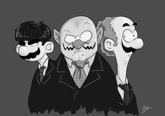 #Wario, #Mario, and #Luigi as the 3 Stooges by Daniel Rutis