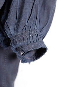 Late 1800's french indigo linen smock, biaude, lin, maquignon, worn by livestock dealer in the South-west area of France.