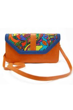 """Printed Orange Sling Bag - Crafted in a leather-like fabric, the sling bag features a colourfully printed flap with a shoulder strap. Adds an instant pop to your everyday casuals.  Colour:  Orange, Multi.  Material:  Digitally Printed Canvas And Leatherette.  Dimensions:  11"""" x 5"""" x 1.5"""".  Estimated delivery within 14 - 21 days after ordering."""