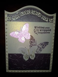Birthday card for Bethany. Embossing, diecuts and stamping. With cosmic shimmer pearls.