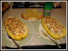 Stuffed spaghetti squash; another great low carb dinner option.