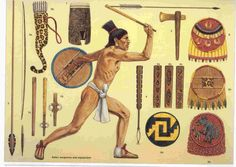 Mayan Warfare, Conquest, Weapons: The Mayan fashioned knifes from stone for an offensive weapons. For a defensive weapon wood and feathers were put together to make shields. They would also use bows and arrows and long wooden spears.