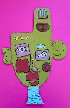 À la manière de Kimmy Cantrell  5ème année Cardboard Art, Tree Branches, Bart Simpson, Art Projects, Masks, Art Pieces, Garden, Artist, How To Make