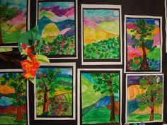 2nd grade tissue paper collage w/ media landscape   lessons ...