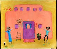 Mexican Folk Art Paintings-Original Artwork Direct From The Artist-RoMy-Terlingua Art Studio: NR LoVe Cat Rooster Home MeXiCaN FoLk ArT RoMy Painting