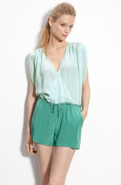 Rory Beca 'Loma' Colorblock Silk Romper - snap closure at neck, shorts are lined