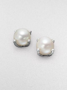 David Yurman White Freshwater Pearl, Diamond & Sterling Silver Earrings- timeless piece- still wear mine after years