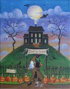Haunted House Halloween Folk Art Print by KimsCottageArt on Etsy