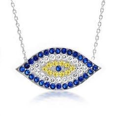 Graduation Gifts 925 Sterling Silver CZ Simulated Sapphire Evil Eye Necklace 16 Inch, http://www.amazon.com/dp/B005G3RYHS/ref=cm_sw_r_pi_awdm_1ziIvb1FNM470