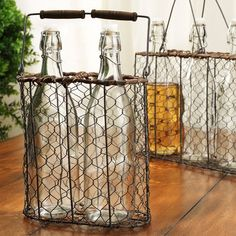 Love the chicken wire bottle holder
