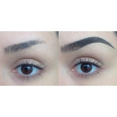 Angela's brows before and after using Dipbrow Pomade in Dark Brown with an Anastasia #12 brush. (Pssst... updated tutorial is a few posts down.)