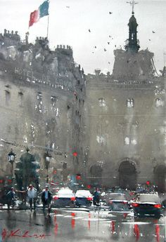 Paris (by unknown) Watercolor Sketch, Watercolor Artists, Watercolor Landscape, Watercolor Paintings, Watercolours, Urban Landscape, Landscape Art, Landscape Paintings, Landscapes