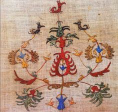 The Greek Institute Towel from Mytilene - with sprays of multi-colored flowers Folk Embroidery, Learn Embroidery, Embroidery Patterns Free, Cross Stitch Embroidery, Embroidery Designs, Modern Embroidery, Greek Design, Cross Stitch Bird, Popular Art