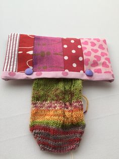 Double Pointed Knitting Needle Holder Patchwork 6 inch by LowlandOriginals on Etsy