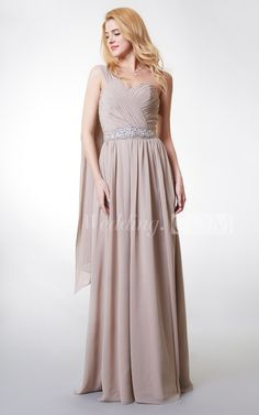 Elegant One-shoulder Chiffon Long Bridesmaid Dress With Beaded-detailing #long #grey  Find your dream 2016 new styles unique bridesmaid dresses to complete your bridal party. Affordable bridesmaid dresses at amazingly prices.  #DorisWedding.com