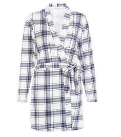 Blue Check Tie Waist Dressing Gown