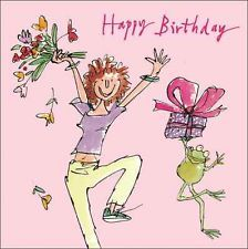 Quentin Blake Leaping Happy Birthday Greeting Card Square Humour Range Cards