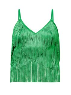 New Norma Kamali Tiered-fringe stretch-jersey crop top. Silver Shirt, Norma Kamali, Green Tops, New Dress, Crochet Top, Women Wear, Crop Tops, Clothes For Women, Black Outfits