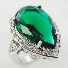 Simulated Emerald Fashion Women 925 Sterling Silver Ring F965 Size 6 7 8 9 10
