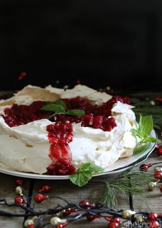 Pomegranate-cranberry pavlova - A delicious meringue dessert that will surprise you with how little effort it takes to make something this elegant.