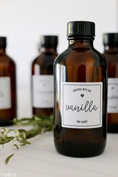 Printable vanilla extract labels for all your homemade extract making and gifting purposes. 2 styles, circle or square + 6 flavor varieties! Eggless Vanilla Cupcakes, Vanilla Bean Frosting, Vanilla Bean Ice Cream, Vanilla Extract Recipe, Lip Scrub Homemade, Rainbow Fruit, Beer Packaging, Chocolate Packaging, Printable Labels