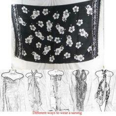 Wholesale Pareos and Sarongs Tropical Clothing Black and White Hibiscus Hawaiian   eBay