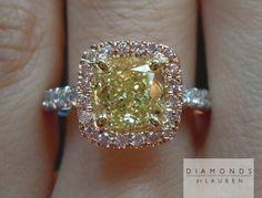 Fancy Yellow 1.41 Carat VS2 Cushion Cut Pink Diamond Halo Ring GIA $11,995 diamondjewelry yellow pink diamond