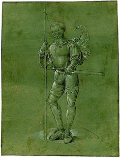 Artist: Binck, Jacob, Title: A standing soldier, Date: ca. 1520-1530